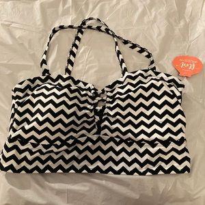 Black and white swim top